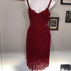 Express ruby red lace cocktail dream dress